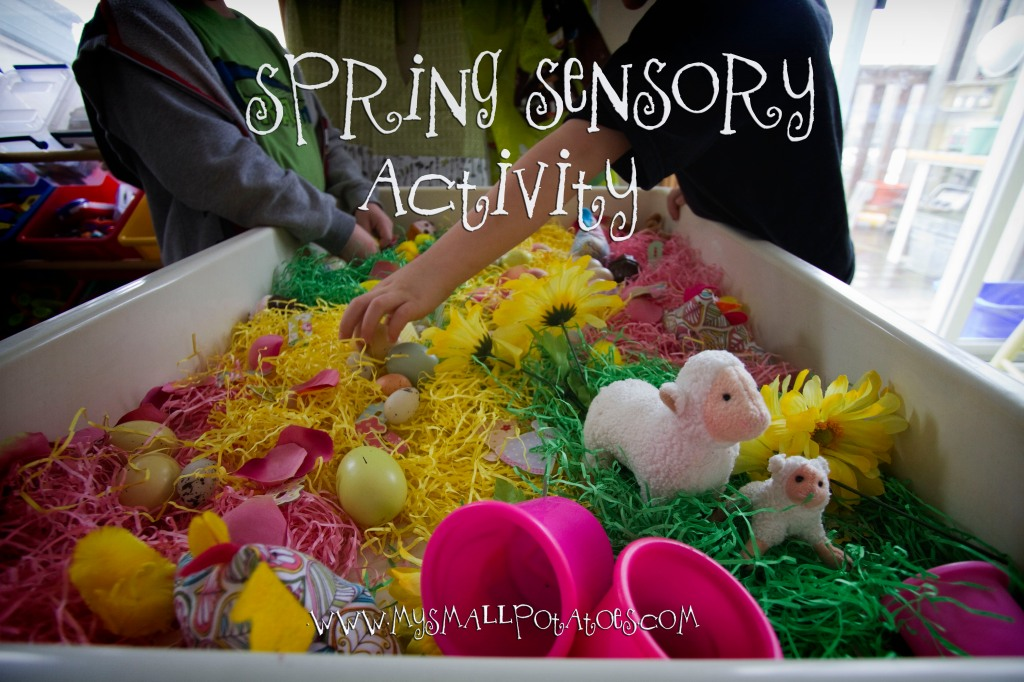 spring sensory activity with grass and animals and flowers