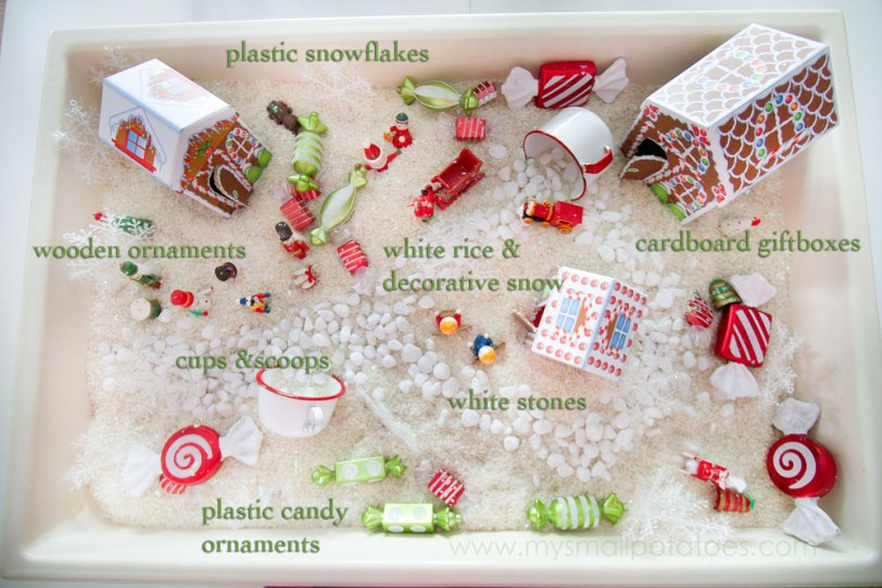 Christmas sensory bin for children and individuals with autism